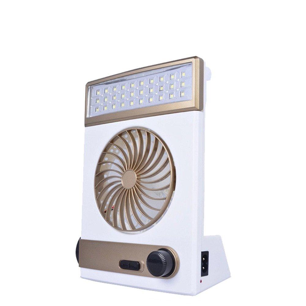 HP95(TM) USB Desk Fan, Mini Solar Rechargeable Fan Multi-function LED Light Table Lamp Flashlight (Gold)