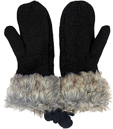 Adorable Women Knitted Wool Glove Winter Warm Neck Hung Mittens Fullfinger  Gloves at Amazon Women's Clothing store