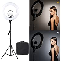 House of Quirk 18 Inches LED Ring Light with Stand for Camera Smartphone YouTube Video Shooting and Makeup, Dimmable 2700-5500K Studio Lighting with Phone Holder and Carrying Bag