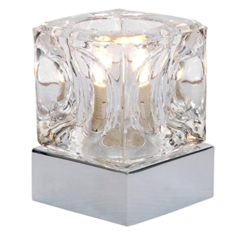 Modern ice cube glass 4 stage touch dimmable table lamp with chrome base by haysom interiors