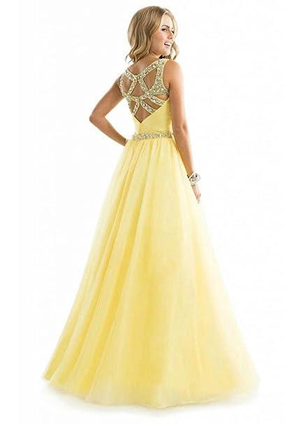 cooshional Vestido larga elegante de boda con V cuello para mujer vestido atractivo de fiesta