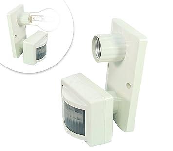 Takestop® Puerta Lámpara portalámparas K10 Sensor de movimiento punto luz casquillo E27 de hasta 7