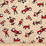 Minky Sock Monkey Cuddle Playtime Sand Fabric By The Yard