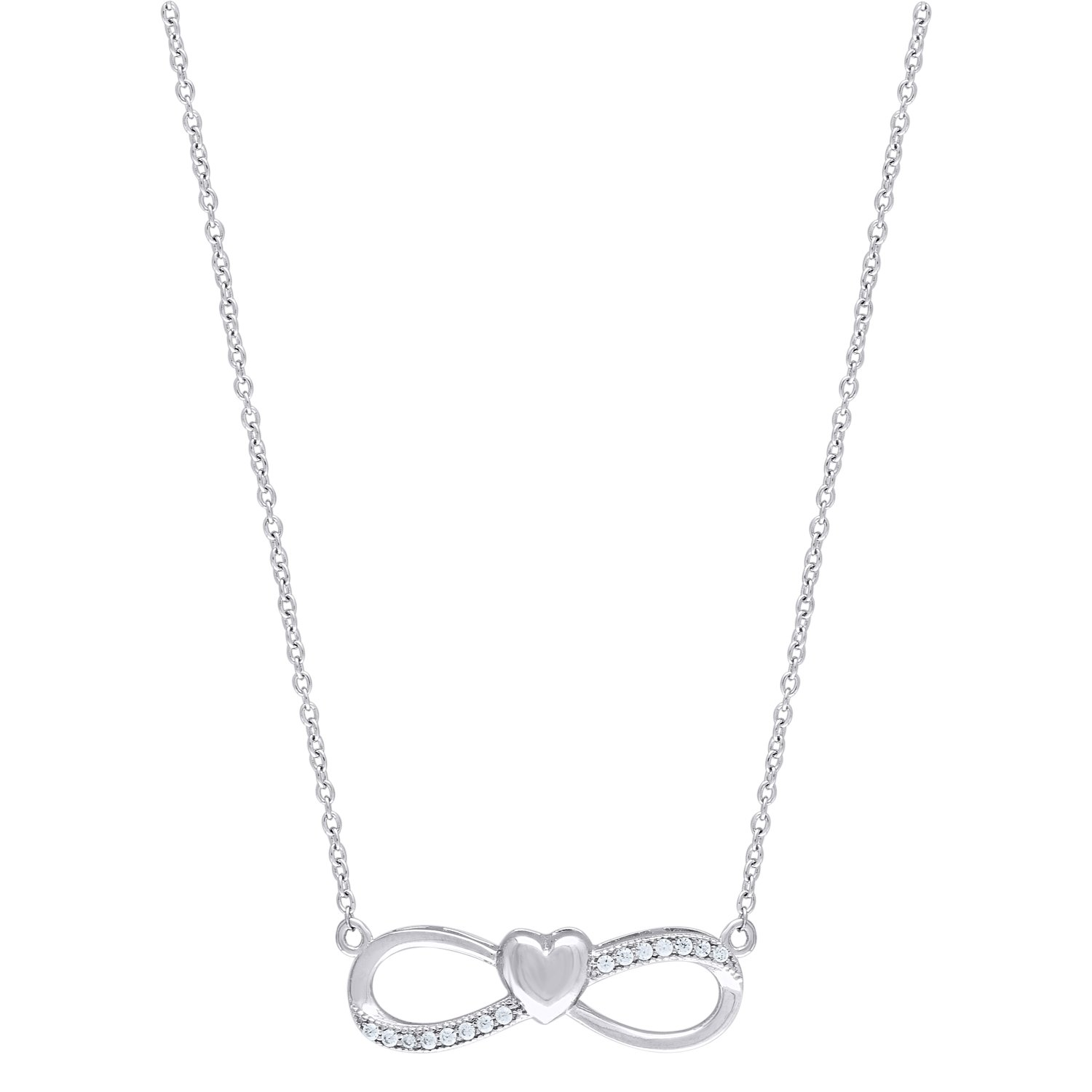 Jewels By Lux 925 Sterling Silver CZ Infinity Heart 2.54gm Womens Pendant Necklace