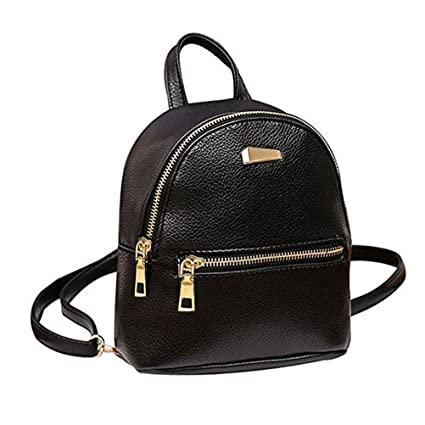2893c1c575 Amazon.com  Donalworld Women Floral School Bag Travel Cute PU Leather Mini  Backpack S Black3  Abuyall Store