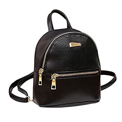 d80fb1ecba99 Abuyall Girl Rucksack Cute Black Mini Pu Backpack Solid Cool School Bag For Women  2018 New Bag Pt1  Amazon.co.uk  Shoes   Bags