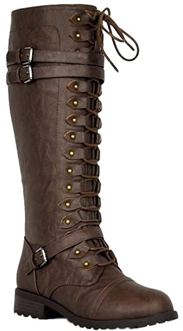 Amazon.com: Refresh Motive-01 - Botas planas militares de ...