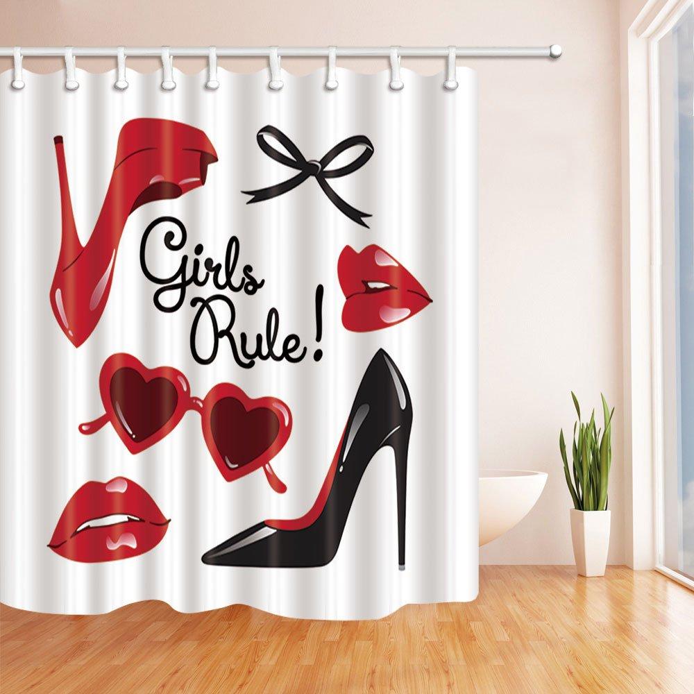 74b1ef0872107 Woman Decor Shower Curtains By KOTOM Fashion Girls Rule Red Lip High ...