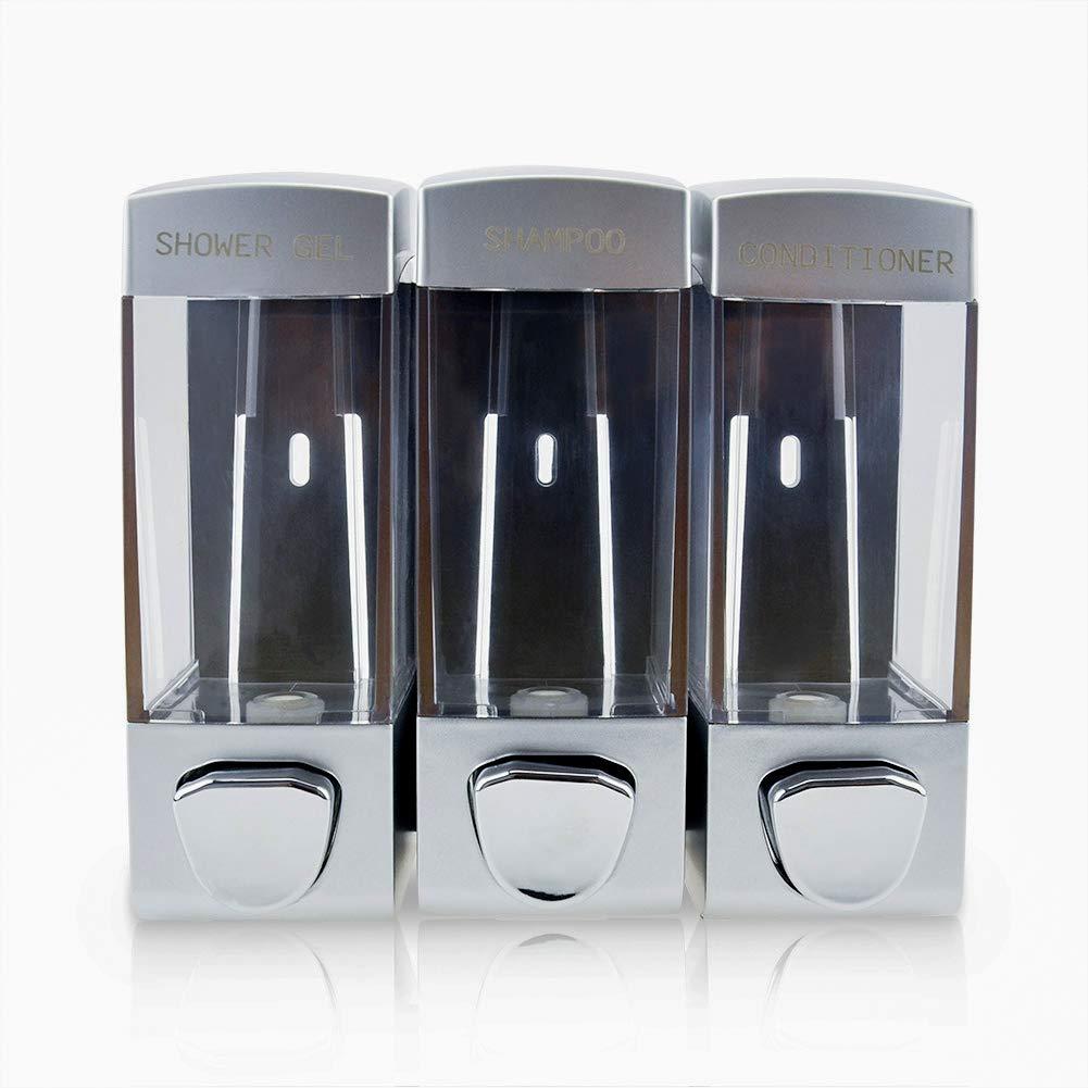 Little World Wall Mounted Soap Dispenser Manual Hand Dispenser Shampoo Shower Gel Lotion Container Dispenser for Hotel Bathrooms, Sliver 3 Chamber