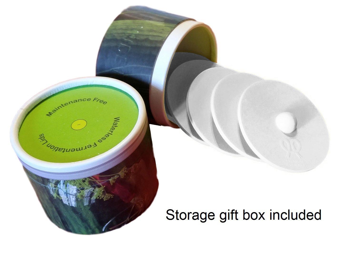 Maintenance free silicone airlock waterless fermentation lids for wide mouth mason jars. BPA free, mold free, dishwasher safe. 5 pack. Premium Presents. White