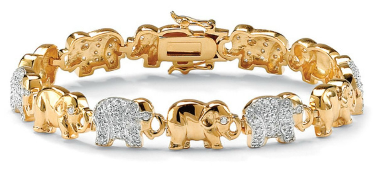 Beautiful Palmbeach Cz 14k Two-tone Gold Overlay and Cubic Zirconia Stone Elephant Link Bangle Bracelet by PaBer