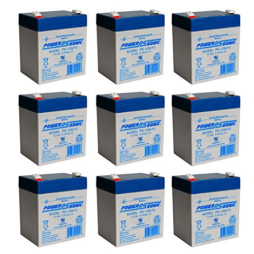 PS-1250F2 12V 5AH Battery for B D Storm Station SS50B - 9 Pack by Powersonic
