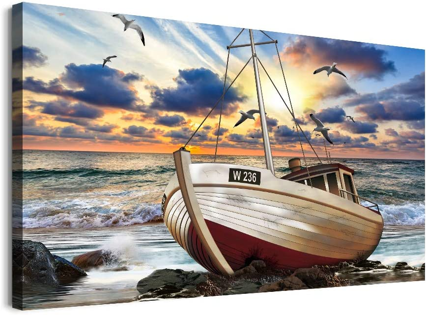 inspiration Canvas Wall Art for Living Room family Bedroom room Wall decor modern office Wall painting bathroom Decoration Blue sea ship scenery canvas pictures Artwork for home walls decorations