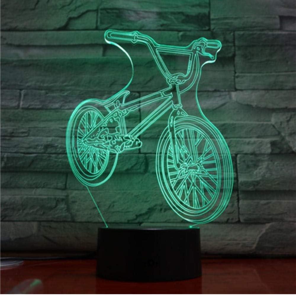 Lámparas decorativas Bicicleta Bicicleta Lámpara 3D Luz nocturna Ciclismo Bombilla LED Multicolor Flash Fade ...