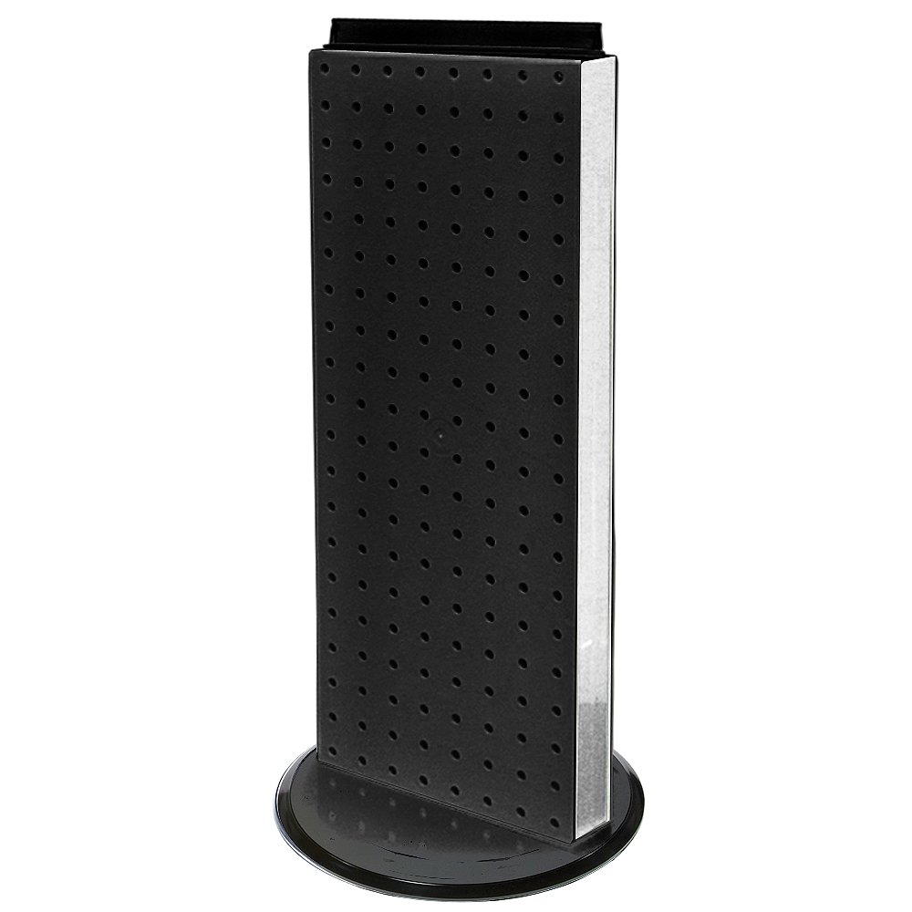Azar 700508-BLK 8-Inch W by 20-Inch H Revolving Black Pegboard Counter Unit, Black