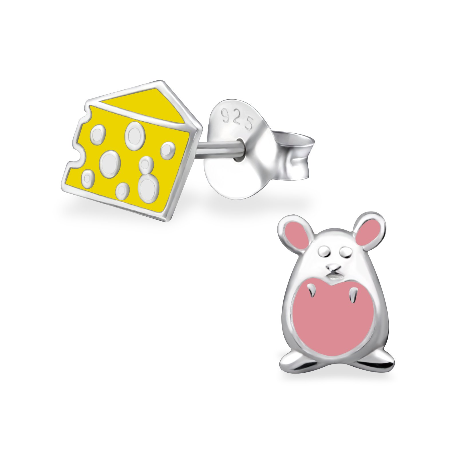 Hypoallergenic Mouse and Cheese Stud Earrings for Girls (Nickel Free and Safe for Sensitive Ears)