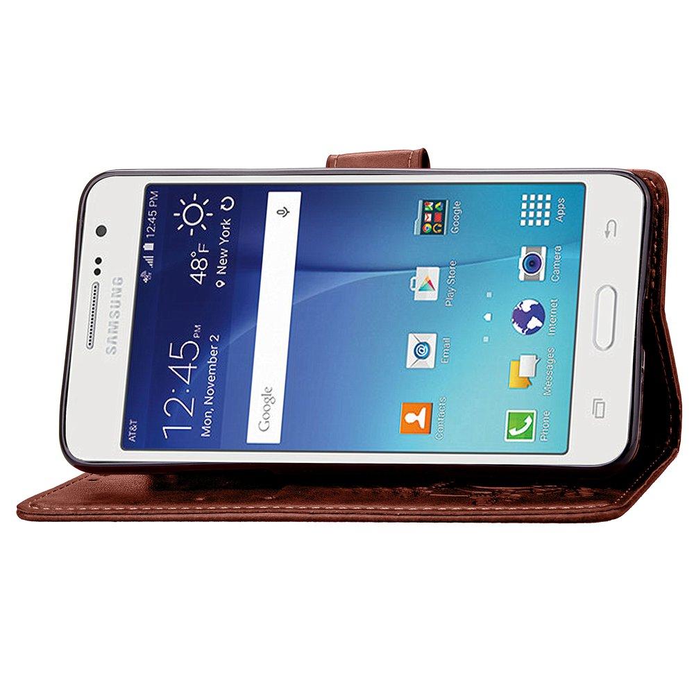 PU Pelle Fiori Design Custodia in Pelle PU Portafoglio Wallet Cover con Supporto di Stand//Carte Slot ISAKEN Compatibile con Samsung Galaxy Core Prime G530 Custodia Farfalla Fiori: Blu con Strap