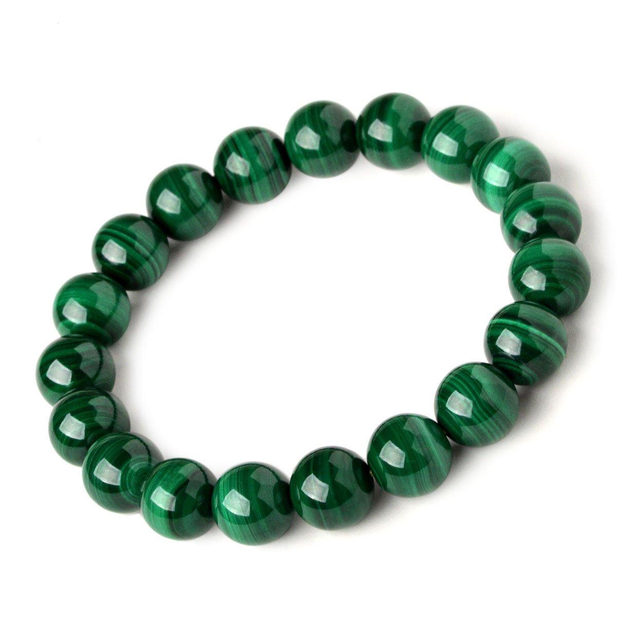 Osye Precious Gemstone Malachite Green Crystal Beaded Stretch Bracelet (14mm)