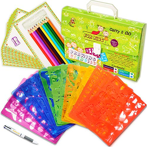 - Drawing Stencils Set for Kids (54-Piece) - Perfect Creativity Kit & Travel Activity - Arts and Crafts for Girls & Boys with Over 300 Shapes - Educational Toys Age 3+ Ideal Kids Gifts.