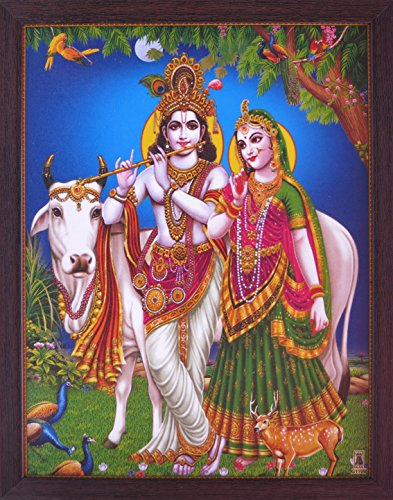 Handicraft Store Lord Radha & Krishna with His Cow & Peacock and Dear in Forest, a Decorative Religious Poster with Beautiful Frame, (Beautiful Images Of Lord Krishna And Radha)