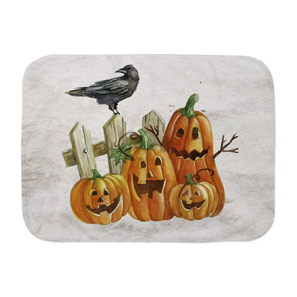 Royal Lion Baby Blanket White Cute Halloween Pumpkins and Crow