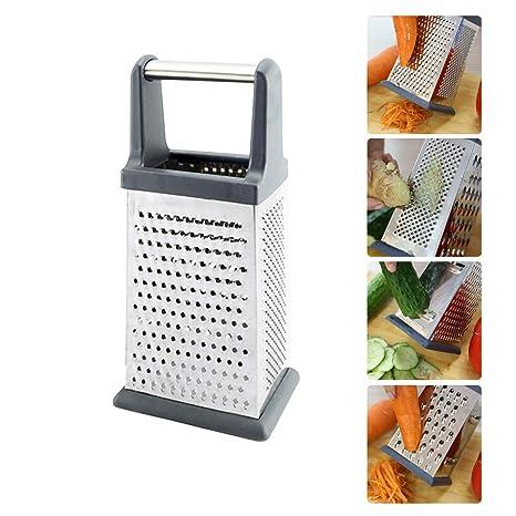 AUVSTAR - Rallador de caja profesional, rallador, acero inoxidable con 4 lados, mejor para queso parmesano, verduras, jengibre.