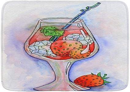 KOSALAER Alfombra de Baño para,Barra roja Cóctel Hielo Fresas ...