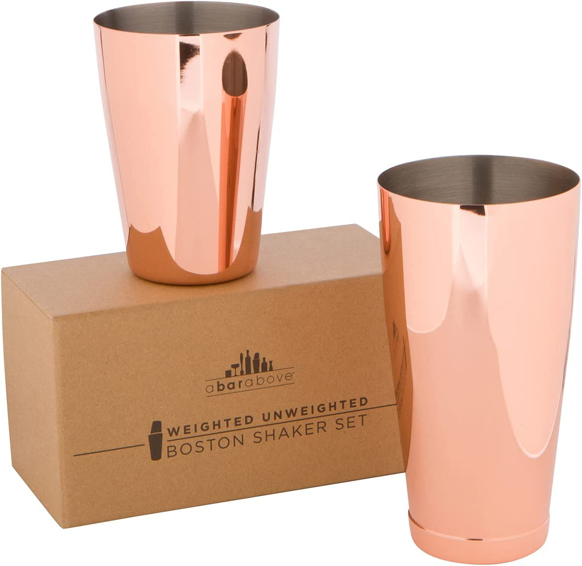 Copper Boston Shaker Set: Two-Piece Pro Cocktail Shaker Set. Unweighted 18oz & Weighted 28oz Martini Drink - Copper Finish