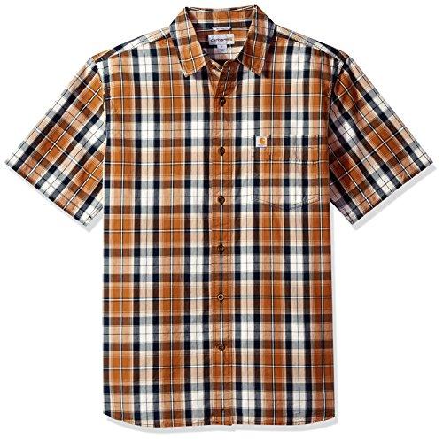 Carhartt Men's Essential Plaid Open Collar Short Sleeve Shirt, Brown, X-Large