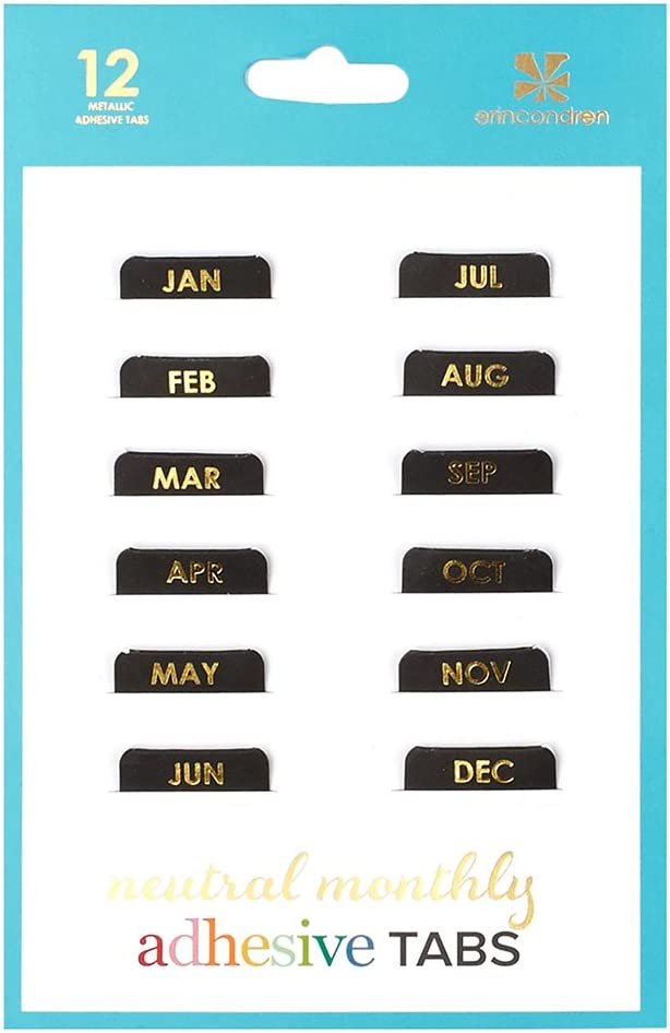 Erin Condren Designer Accessories - Adhesive Tabs, Neutral/Metallic (Set of 12)
