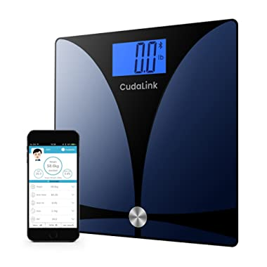 Ultimate Bluetooth Digital Scale By Cudalink High-Precision Digital Body Fat Weight Scale | iOS and Android Smart Phone Compatible | Stainless Steel Glass, Step-On Technology and 8 Measured Parameters