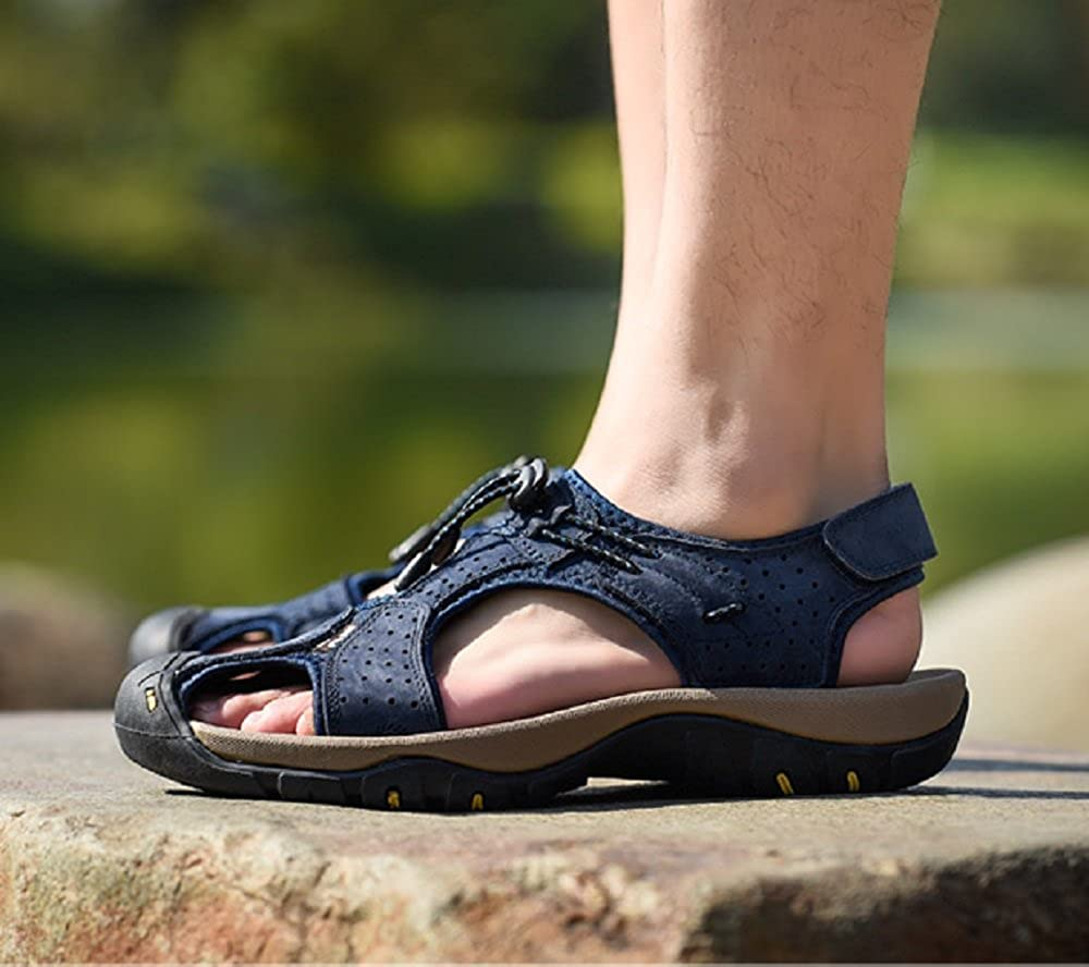 Sandals Men Summer Stylish Walking Outdoor Trekking Leather Beach Closed Toe Athletic Flat Shoes 6-12.5 BL43 Blue