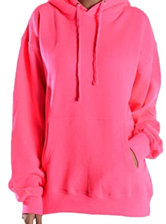 Unisex Fit Neon Pink Hoodie at Amazon Women's Clothing store:
