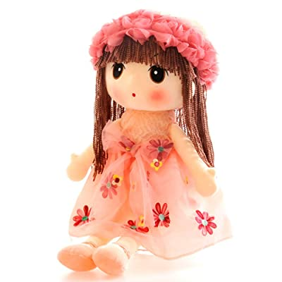 Tvoip Tulle Skirt Princess Plush Toy Phial Dolls Children Girls Doll Cute Little Girl Dolls, 18 Inch (Pink): Toys & Games