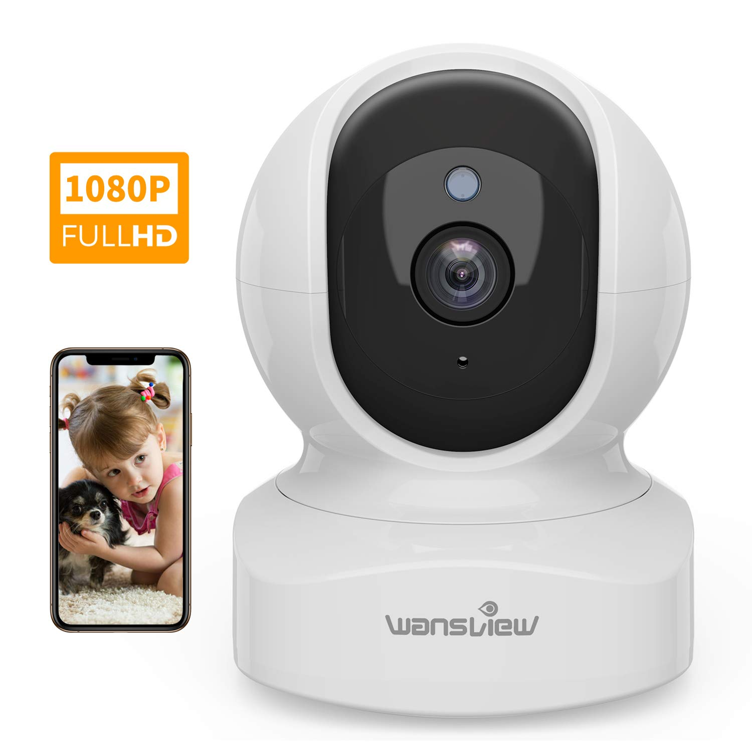 Home Security Camera, Baby Camera,1080P HD Wansview Wireless WiFi Camera for Pet/Nanny, Free Motion Alerts, 2 Way Audio, Night Vision, Compatible with Alexa Echo Show, with TF Card Slot and Cloud by Wansview