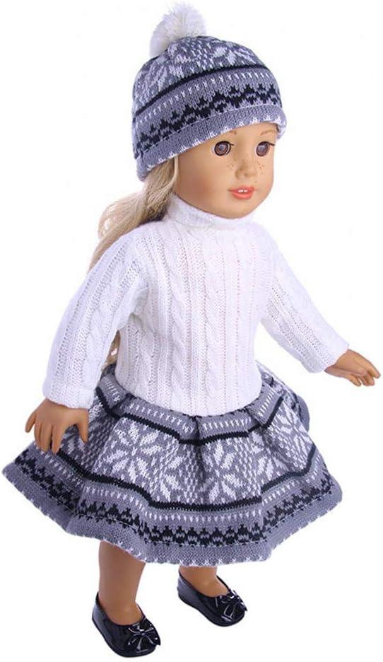 Uteruik V/êtements de poup/ée pour poup/ée 46 cm American Girl Tenues d/écontract/ées Robe Pull et Chapeau tricot/é Accessoire de Costume