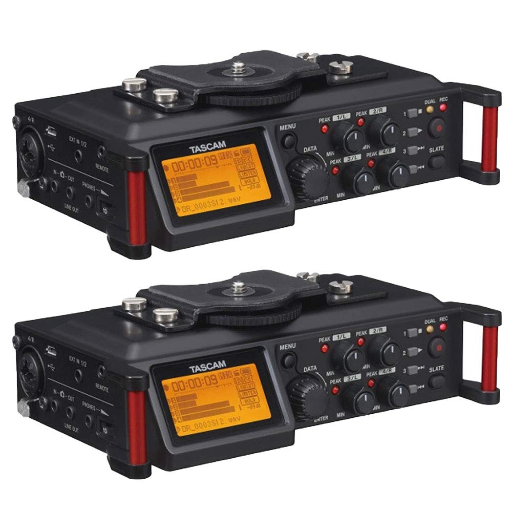 Tascam 4 Channel Linear PCM Audio Portable DSLR Film Recorder Mixer (2 Pack)