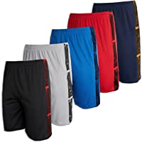 Real Essentials 5 Pack: Men's Mesh Athletic Performance Gym Shorts with Pockets (S-3X)