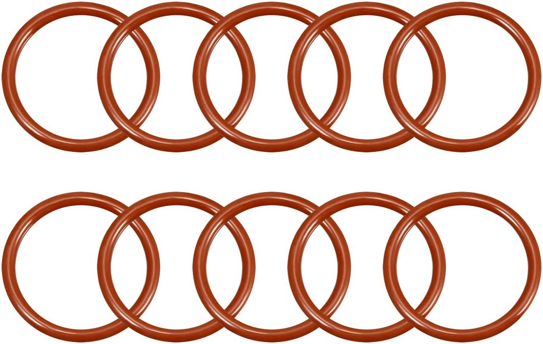 3.1mm Width 27.8mm Inner Diameter 34mm Outside Diameter uxcell Silicone O-Ring VMQ Seal Rings Sealing Gasket Red 10PCS
