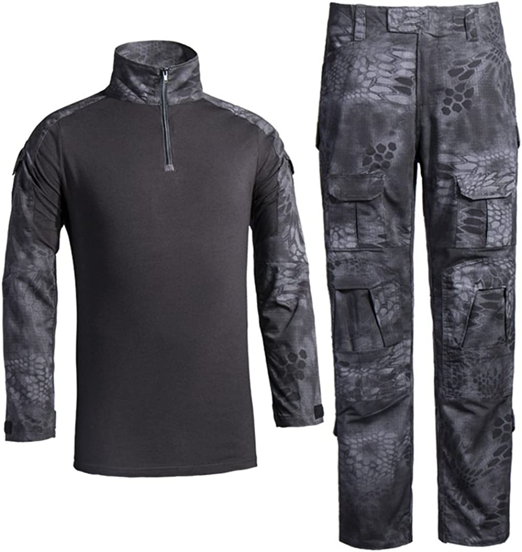HJLYQXQ Men's Military Tactical Shirt and Pants Multicam Army Camo Hunting Airsoft Paintball BDU Combat Uniform Dry Quick