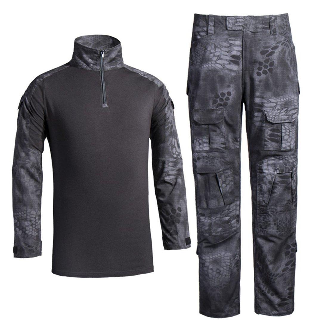 QCHENG Chemise de Combat Militaire Homme Airsoft Shirt Tenue Camouflage Uniforme Tactique Séchage Rapide à Manches & Pantalon Costume Tenues de Combat Pantalon Paintball