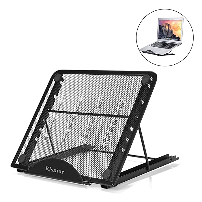 Laptop Tablet Stand, Foldable Portable Ventilated Desktop Laptop Holder, Universal Lightweight Adjustable Ergonomic Tray Cooling (black2)