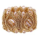KAYMEN FASHION JEWELLERY Kaymen Jewelry 18k Gold Plated Copper Chains and Crystal Stone Knit Charm Bangles Bracelets for Women 4 Colors (Champagne)