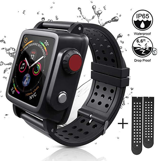 huge selection of 8a250 09a94 ADDSMILE Waterproof Case Compatible with Apple Watch Series 3 42mm with  Built-in Screen Protector and 3-Size Watch Strap Bands Black
