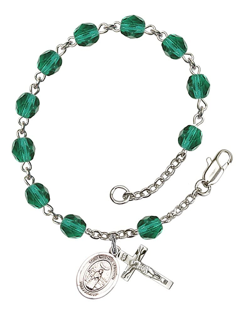 Silver Plate Rosary Bracelet features 6mm Zircon Fire Polished beads The charm features a St Patron Saint Good Weather The Crucifix measures 5//8 x 1//4 Medard of Noyon medal