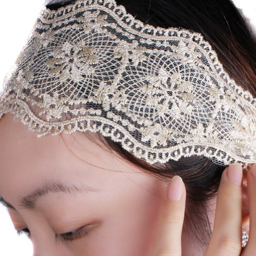 Wisedeal 1pc Lady women girls Elegent Lace Elastic Hair head band hoop accessory tie hairbands headbands turban