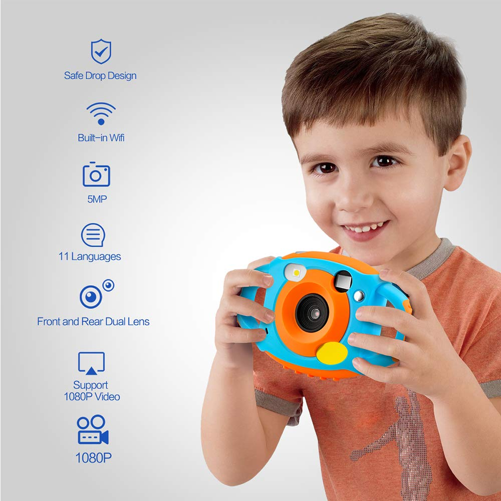 Digital Camera for Kids, HD 1080P Kids Camera with Flash Microphone WiFi, Soft Plastic Anti-Drop, 7 Color Filter Effect Kids Video Camera for Girls/Boys by GordVE (Image #1)