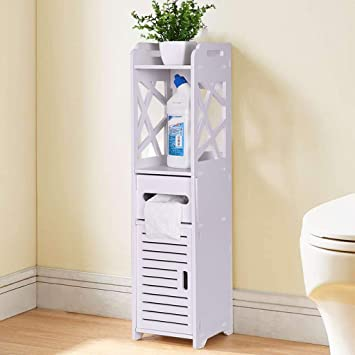 Seven/&Plus BTIF FCH Carved Double Door Toilet Cabinet Floor Cabinet Multifunctional Bathroom Storage Organizer Rack Stand