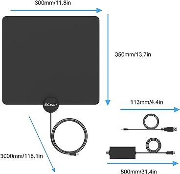 Ecandy Antena de TV digital de TDT y HD para uso interior con ...