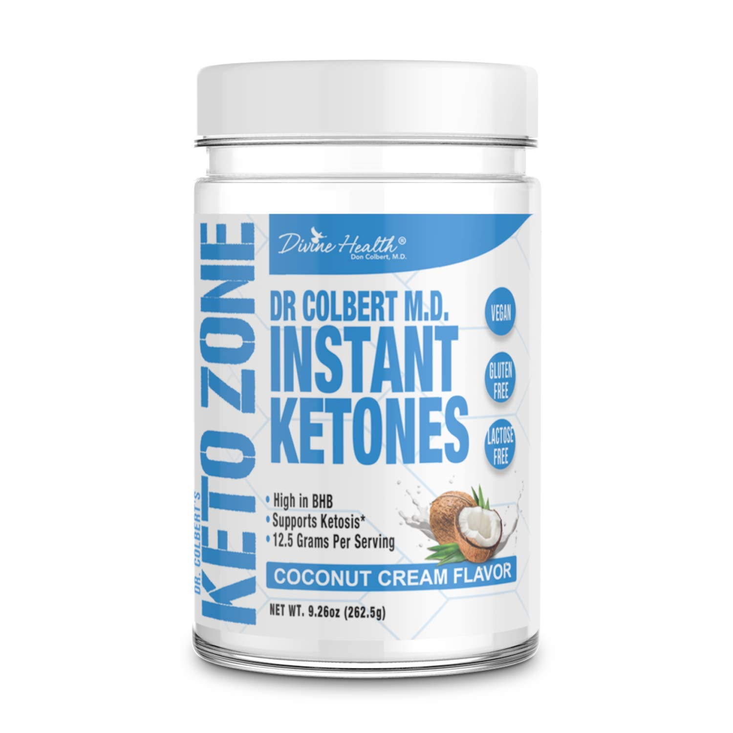 Keto Zone Instant Ketones Powder (Coconut Flavor) - Exogenous Ketones - Ketone Salts - 12 Grams BHB per scoop (Beta-Hydroxybuturate) (21 Servings) - Recommended in Dr. Colbert's Keto Zone Diet by Divine Health